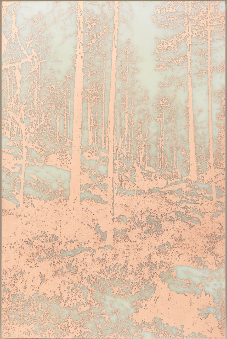 James Hoff, Useless Landscape No. 36 2016, copper etching on fiberglass, aluminum, wood, lacquer; 48 x 32 inches, courtesy of the artist and Callicoon Fine Arts, NY