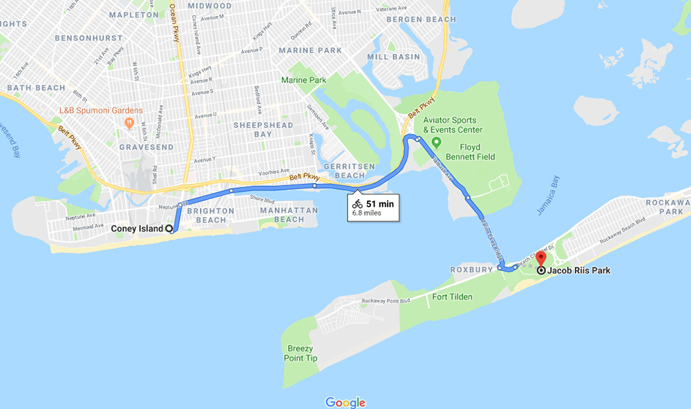 bike routes coney island to jacob riis park